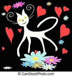 White cat on black background with flower and heart
