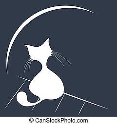 white cat silhouette
