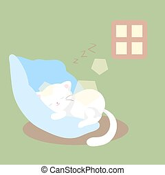 white cat sleeps or naps or rests on soft blue pillow in day light