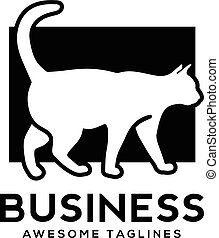 white cat with black background logo , Cat vector logo...