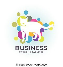 white cat with bubble color logo , Cat vector logo design vector, Cat vector logo design. Pet shop, veterinary clinic logo.