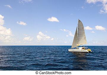 white catamaran sailboat in open sea - Charter tourist ...
