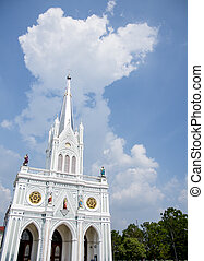 White cathelic church in Samutsongkram Thailand