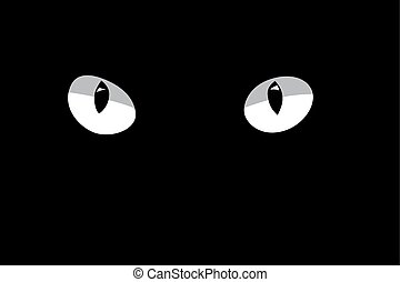 White cat's eyes isolated on black background. Vector design element.