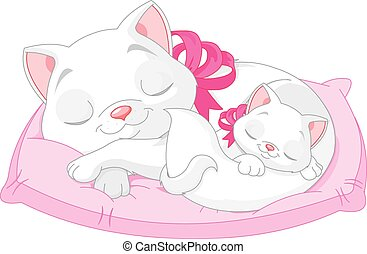 Illustration of cute white cats are seeping