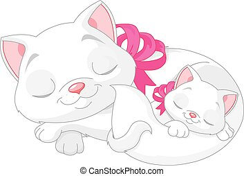 White Cats - Illustration of cute white cats are seeping