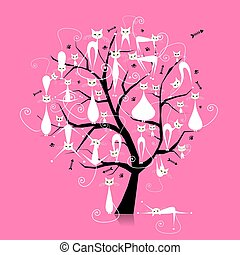 White cats on tree branches, silhouette for your design