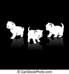 White Cats Silhouettes Icons on Black Background.