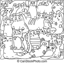 White cats , VECTOR outline.