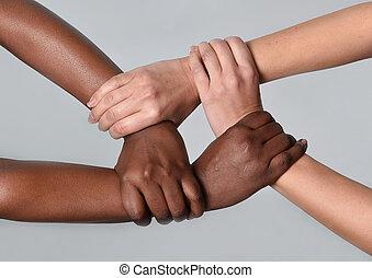 white caucasian, női, és, fekete, african american,...
