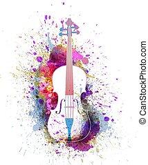 White cello or violin with bright colorful splashes. Creative music concept. Vectot illustration