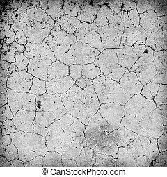 White cement floor cracked.