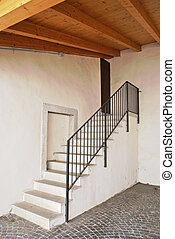 white cement staircase
