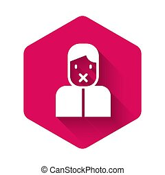 White Censor and freedom of speech concept icon isolated with long shadow. Media prisoner and human rights concept. Tied mouth. Pink hexagon button. Vector
