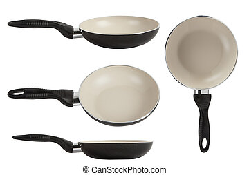 White ceramic frying pan isolated on white background