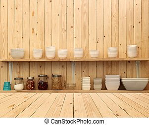 White ceramic kitchenware on the wooden shelf