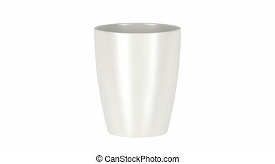 White ceramic mug for coffee, tea, milk or other beverages