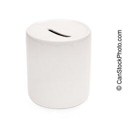 white ceramic piggy bank isolated on white background