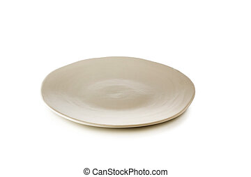 White ceramic plate isolated on a white background.