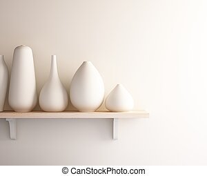 white ceramic vase on wood shelf