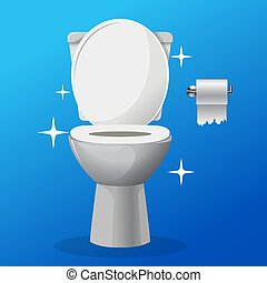 White ceramics vector clean toilet bowl icon with a tolet paper on a hangaer. modern toilet in flat style. Vector illustration.