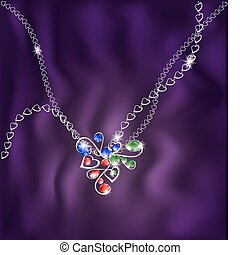 white chain and jewelry pendant - on an purple silk ...