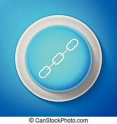 White Chain link icon isolated on blue background. Link single. Circle blue button with white line. Vector Illustration