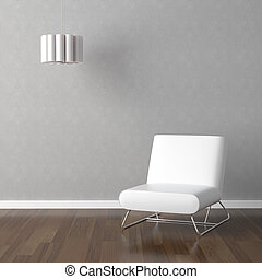 white chair and lamp on grey - interior design scene with ...