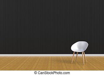 White chair in a black room, 3D rendering