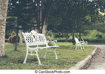 white chair in garden
