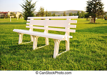 White chair in park, no people