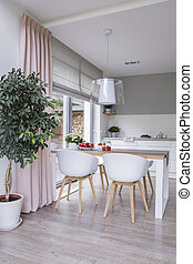White chairs at table in modern dining room interior with plant and pink drapes. Real photo