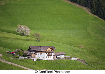 White chalet in Tyrol region of Italy - Traditional white ...