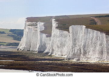 White Chalk Cliffs and shible beaches at the the Seven...
