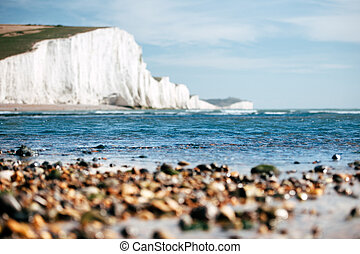 White Chalk Cliffs as seen from the beach angle with slightly defocused lens fora better accent composition