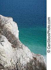 White chalk cliffs at danish seaside