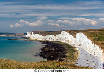 White chalk cliffs at the south coast of England