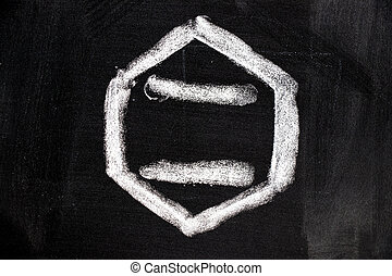 white chalk drawing in blank hexagon shape on blackboard background