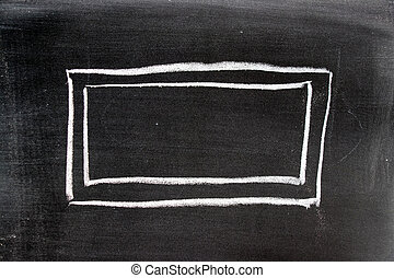 white chalk drawing in blank square shape on blackboard background