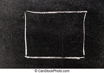 White chalk hand drawing in blank square shape on blackboard background