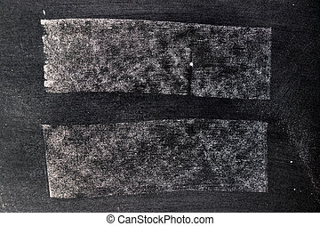 White chalk hand drawing in square or line shape on blackboard background