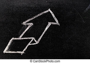 White chalk hand drawing in uptrend arrow shape on blackboard background