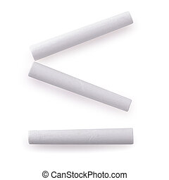 White chalk isolated on a white background.
