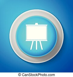White Chalkboard icon isolated on blue background. School Blackboard sign. Circle blue button with white line. Vector Illustration