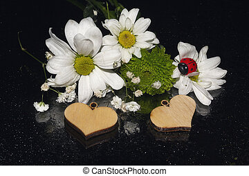 White chamomile and wooden hearts on black background