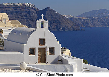 white chapel in Oia