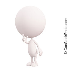 White character with silent pose - 3d white character with...