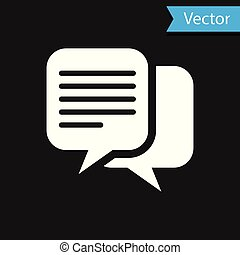 White Chat icon isolated on black background. Speech bubbles symbol. Vector Illustration