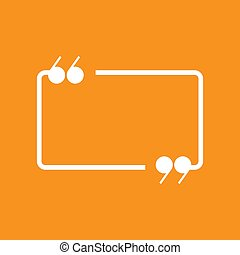 White chat speech bubble with quote marks isolated on red background. Vector flat icon.