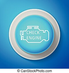 White Check engine icon isolated on blue background. Circle blue button with white line. Vector Illustration